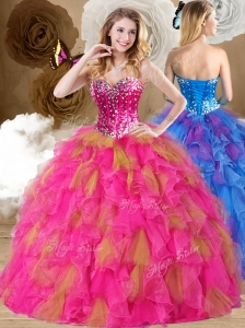 2016 Discount  Ball Gown Sweetheart Ruffles Quinceanera Dresses in Multi Color