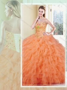 Discount Ball Gown Orange Red Quinceanera Dresses with Ruffles