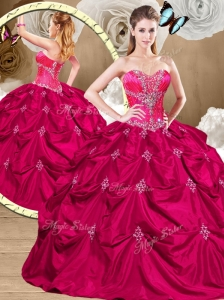 Discount Hot Pink Sweet 16 Quinceanera Dresses with Appliques and Pick Ups