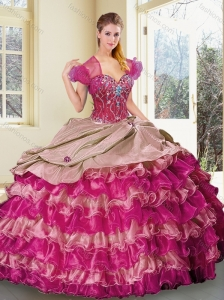 Discount Sweetheart Multi Color Quinceanera Dresses with Ruffled Layers