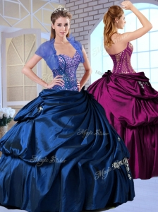 Discount Sweetheart Taffeta Royal Blue Quinceanera Dresses with Appliques