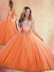 Discount Sweetheart Orange Red Quinceanera Dresses with Beading 2016