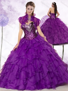 Discount  Sweetheart Ruffles and Sequins Quinceanera Dresses in Purple