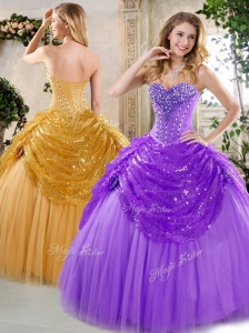 2016 Unique  Ball Gown Beading and Paillette Quinceanera Dresses for Fall