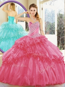 2016 Unique Ball Gown Quinceanera Dresses with Beading and Ruffled Layers for Spring
