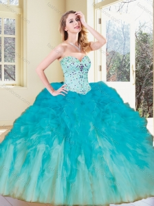 2016 Unique  Ball Gown Quinceanera Dresses with Beading and Ruffles