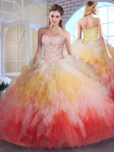 2016 Unique  Ball Gown Sweet 16 Quinceanera Dresses in Multi Color with Beading and Ruffles