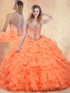 2016 Unique Straps Orange Red Sweet 16 Quinceanera Dresses with Ruffles and Appliques