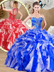 2016 Unique Sweetheart Multi Color Sweet 16 Quinceanera Dresses with Ruffles