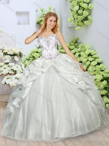 Unique Appliques and Pick Ups Quinceanera Dresses in White