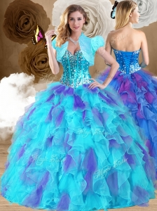 Unique Ball Gown Sweetheart Ruffles Sweet 16 Quinceanera Dresses in Multi Color