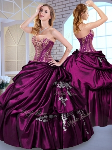 Unique Ball Gown Taffeta Dark Purple Quinceanera Dresses with Pick Ups