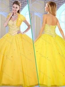 Unique Ball Gown Yellow Sweet 16 Quinceanera Gowns with Beading