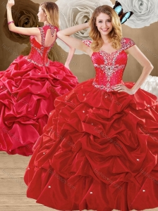Unique Beading and Pick Ups Sweet 16 Quinceanera Gowns with Brush Train