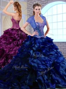 Unique Brush Train Ruffles and Appliques Quinceanera Dresses in Royal Blue
