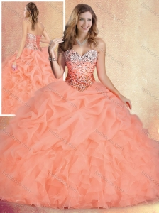 Unique Brush Train Sweet 16 Quinceanera Gowns with Ruffles and Bubles 2016