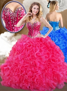 Unique Hot Sweetheart Hot Pink Quinceanera Dresses with Ruffles 2016