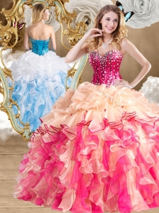 Unique  Multi Color Quinceanera Gowns with Beading and Ruffles