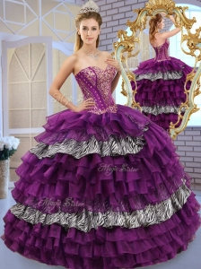 Unique Sweetheart Ball Gown Sweet 16 Quinceanera Dresses with Ruffled Layers and Zebra