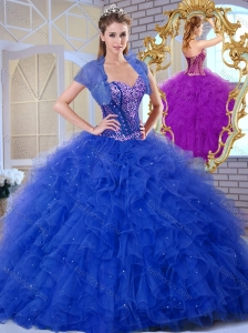 Unique Sweetheart Blue Quinceanera Dresses with Ruffles and Appliques