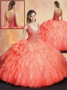 Unique  V Neck Sweet 16 Quinceanera Dresses with Ruffles and Appliques