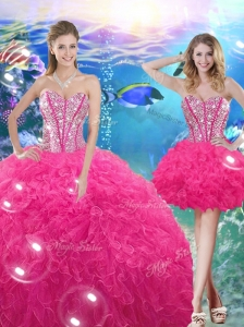 Pretty Ball Gown Sweetheart Detachable Quinceanera Dresses with Beading