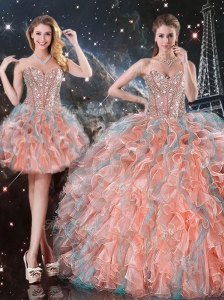 Fashionable Ball Gown Sweetheart Detachable Quinceanera Sweet 16 Gowns for Fall