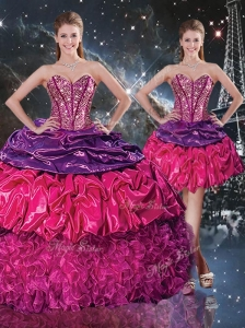 Gorgeous Ball Gown Sweetheart Detachable Quinceanera Dresses with Ruffles