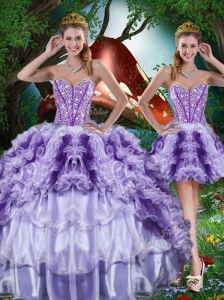 Luxurious Ball Gown Beading and Ruffles Detachable Quinceanera Dresses for 2016