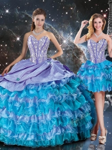 Luxurious Sweetheart Detachable Quinceanera Dresses with Beading and Ruffled Layers