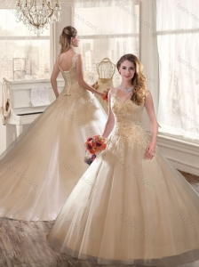 2016 Fashionable Appliques and Beading Wedding Dresses in Champagne