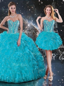 2016 Hot Sale Detachable Sweetheart Sweet 16 Dresses with Beading and Ruffles