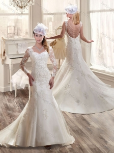2016 Latest A Line Wedding Dresses with Lace and Appliques