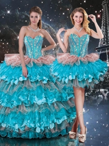 2016 Luxurious Detachable Sweetheart Ruffled Layers Quinceanera Dresses
