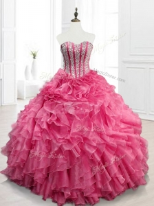 2016 Modest Sweetheart Quinceanera Gowns with Beading and Ruffles
