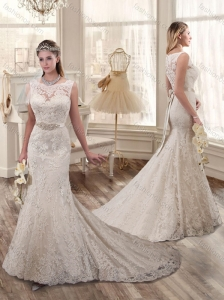 2016 Pretty Mermaid Bateau Wedding Dresses with Beading and Lace