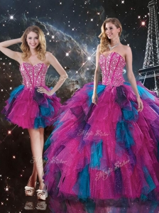 2016 Sweet Sweetheart Detachable Quinceanera Gowns with Beading