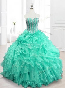 Best Selling Beading and Ruffles Sweet 16 Dresses in Apple Green