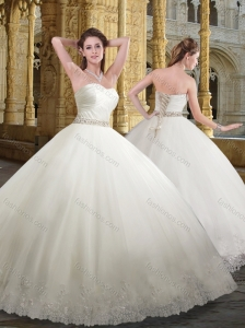 Best Sweetheart White Wedding Dresses with Beading and Appliques