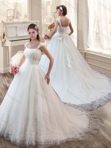 Cheap Strapless Court Train Wedding Dresses with Appliques and Lace 2016