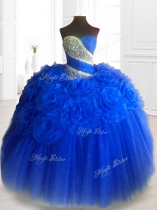Classical Hand Made Flowers Sweet 16 Dresses in Royal Blue