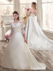 Exclusive A Line Off the Shoulder Wedding Dresses with Half Sleeves