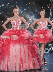 Fashionable Puffy Sweetheart Detachable Beading Quinceanera Gowns for Winter