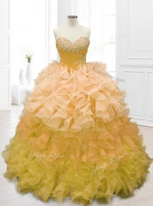 Fashionable Sweetheart Beading and Ruffles Quinceanera Dresses in Gold