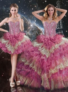 Gorgeous Ball Gown Sweetheart Detachable Sweet 16 Dresses for Fall