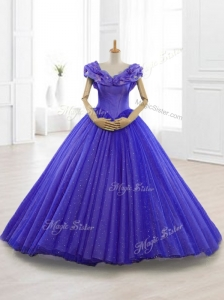 Latest Appliques Cap Sleeves Sweet 15 Dresses in Purple