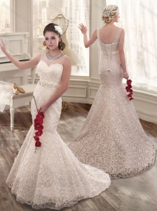 Lovely Mermaid Scoop Beading and Lace Wedding Dress 2016