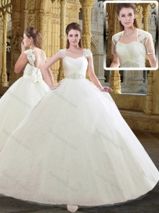 Lovely Straps Cap Sleeves Bowknot Wedding Dresses for Outdoor