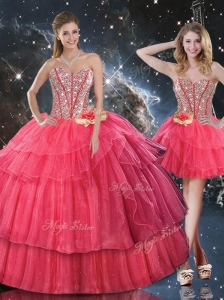 Lovely Sweetheart Detachable Quinceanera Dresses with Beading for Fall