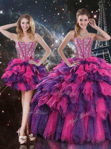 Luxurious Detachable Quinceanera Gowns with Beading and Ruffled Layers
